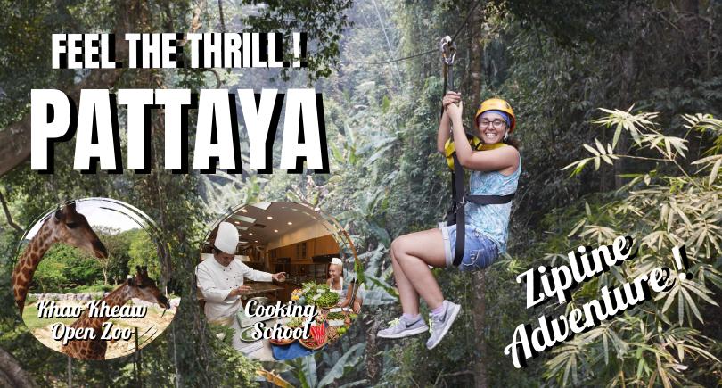 Bangkok - Pattaya - Jungle Zipline - Khao Kheow Zoo - Cooking School (Exclude hotel)