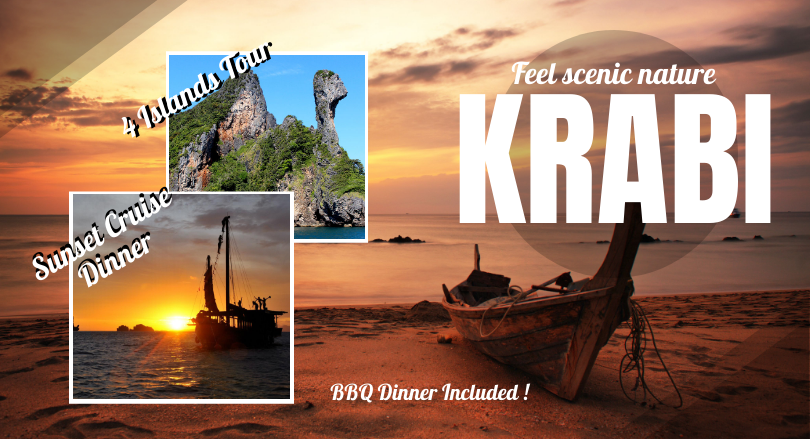 2 Days Krabi 4 Islands sunset view and adventure activity (Excluded Hotel)